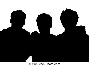 Three man silhouette - Silhouette of three guys Can see up...