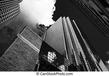 Looking up at modern buildings in Boston, Massachusetts. -...