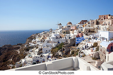 View of  Oia village at Santorini island, Greece