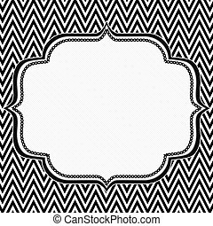 Black and White Chevron Frame with Embroidery Background...