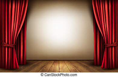 Background with red velvet curtain and a wooden floor Vector...
