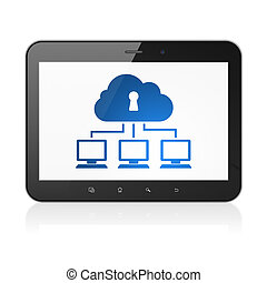 Privacy concept: Cloud Network on tablet pc computer -...