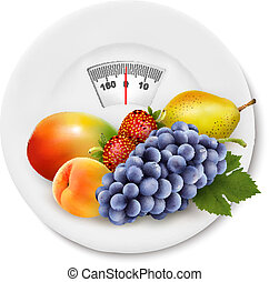Fruit on the weight scale. Diet concept. Vector.