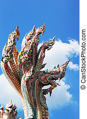 Thai dragon, King of Naga statue in Temple Thailand.