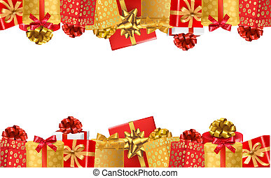 Holiday background with colorful gift boxes with bows. Vector illustration.