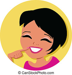 Woman Cartoon Icon - Illustration icon of a woman with dark...