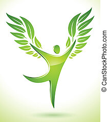 green figure with leaves as wings