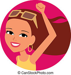 Woman Cartoon Icon - Beautiful clipart icon illustration of...