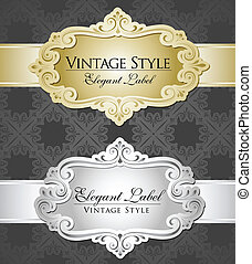 gold and silver metallic labels - Two vintage metallic...