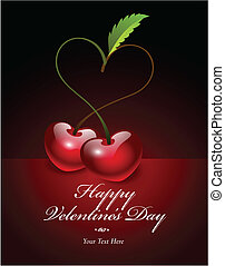 cherries making a heart shape - Vector illustration of...