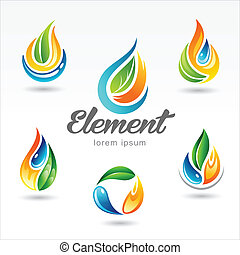 Set element designs - Set of six vector design of element...