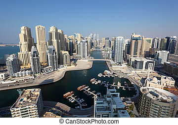 Dubai Marina high angle view United Arab Emirates