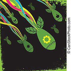 green attack - Illustration of seeds in a shape of missiles...