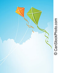 two kites in the sky - Vector illustration with two kites in...