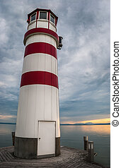 Lighthouse at Lake eusiedl at sunset - Podersdorf,...