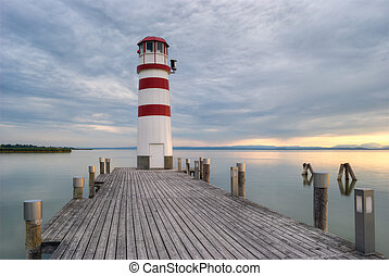 lighthouse at Lake Neusiedl at sunset near Podersdorf,...