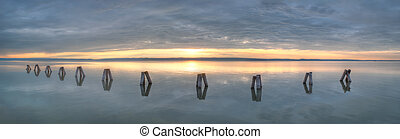 waterbreak in the lake at sunset - waterbreak in neusiedl...