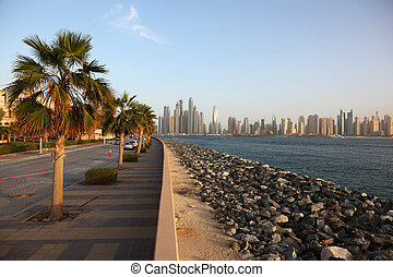 Waterfront promenade on the Palm Jumeirah. United Arab Emirates