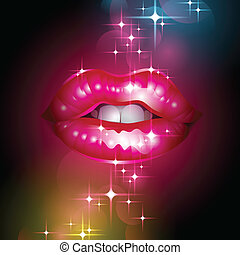 sparkly lips with in stars - Vector Illustration of sparkly...