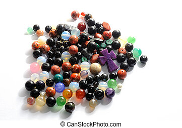 gemstones - Mix of colorful polished gemstones balls and a...