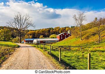 Red barn along country road in rural York County,...