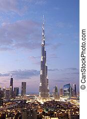 Burj Khalifa illuminated at dusk. Dubai, United Arab Emirates