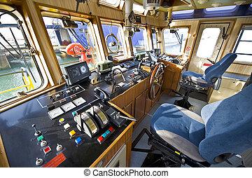 el, puente mando, fuego, barco
