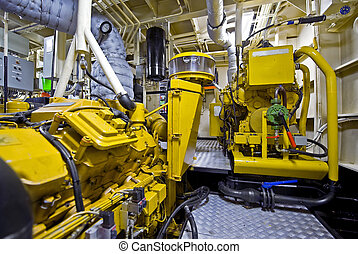 Tugboat engine room - The engine room of a tugboat, used for...