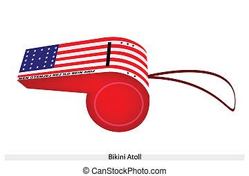 A Beautiful Blue Whistle of Bikini Atoll Flag