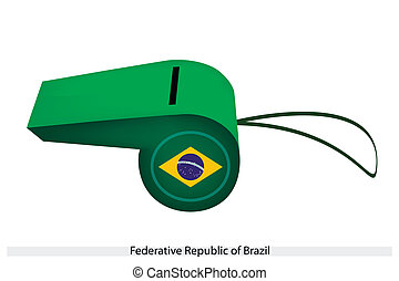 A Green and Yellow of Brazil Whistle - A Blue Circle with...