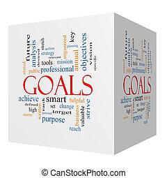 metas, 3D, Cubo, palabra, nube, concepto