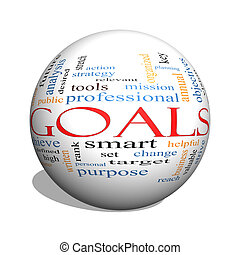 Goals 3D sphere Word Cloud Concept with great terms such as...