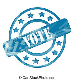 Blue Weathered Vote Stamp Circles and Stars