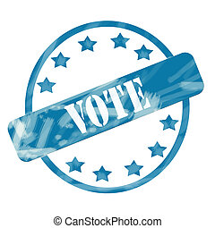 Blue Weathered Vote Stamp Circle and Stars