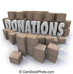 Many cardboard boxes of donated items, clothes, food and other goods in need around the word Donations to illustrate a charity drive collection warehouse