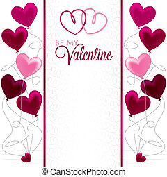 Heart Balloon bunch Valentine card in vector format