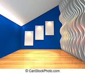 blue wall wave gallery - Empty room interior with white...