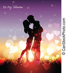 couple kissing at sunset - Vector illustration of a couple...
