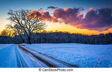 Sunset over trees and a snow covered field along a dirt road...