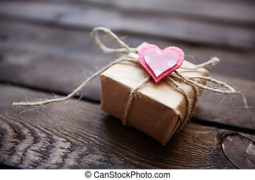 Valentine present - Image of valentine giftbox with small...