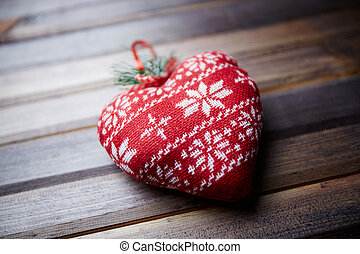 Fabric heart - Image of red heart made of fabric on wooden...