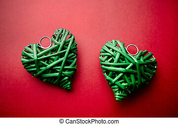 Love souvenirs - Image of two decorative green wattled...