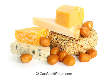 Various types of cheese on white background