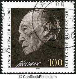GERMANY - 1992: shows Konrad Adenauer (1876-1967) - GERMANY...