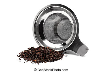 Tea strainer with a handful of tea