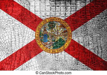 Florida Flag painted on luxury crocodile texture