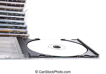 CD box open ahead of cds stack over a white background