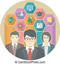 Teaching Staff - Conceptual illustration of a team of...