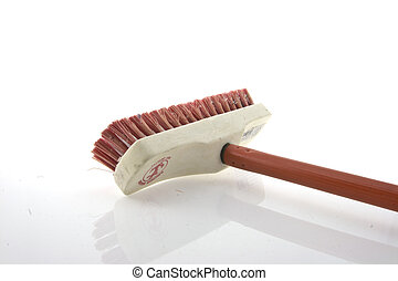 broom cleaning on isolated background