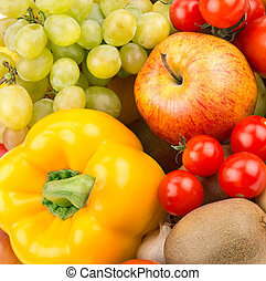 bright background of  fruit and vegetables